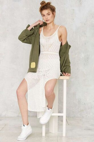dress midi summer knit dress midi dress summer outfits summer dress white dress crochet jacket army green jacket sneakers white sneakers high top sneakers