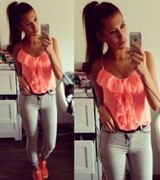 top clothes pink shoes girl style blouse frilled top pink top workout shoes jeans fashion frilly sexy pink shoes phone