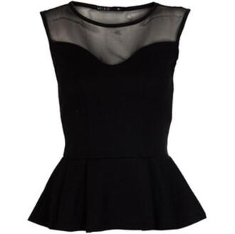 blouse black shirt sheer peplum top club outfits clubwear
