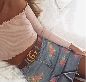 skirt floral mini skirt denim pink flowers cute gucci instagram instagram girl