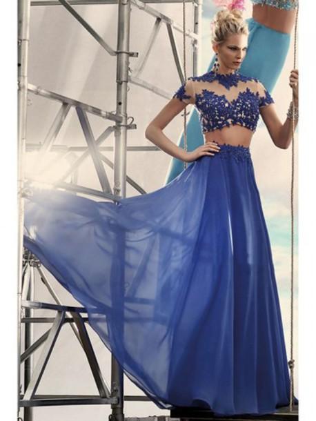 dress two piece prom dresses blue prom dress prom dress chiffon dress long prom dress party dress