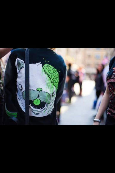 hipster swag black sweater brain drop dead green