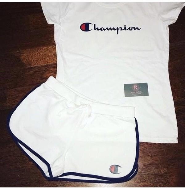 75f6d4adf6fe5 shorts champion shirt white blue.