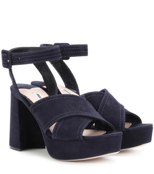Miu Miu Plateau suede sandals in blue