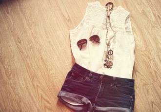 blouse lace white lace tank top white tank top white white summer top summer shirt summer top summer outfits pretty shorts shirt lace shirt sunglasses jewelry necklace outfit cute tumblr