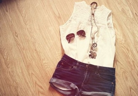 jewelry necklaces blouse denim shorts white lace blouse gold jewelry shades jewels necklace tank top white tank top brown sunglasses mini shorts summer sunglasses lace, shorts, sunglasses, necklace