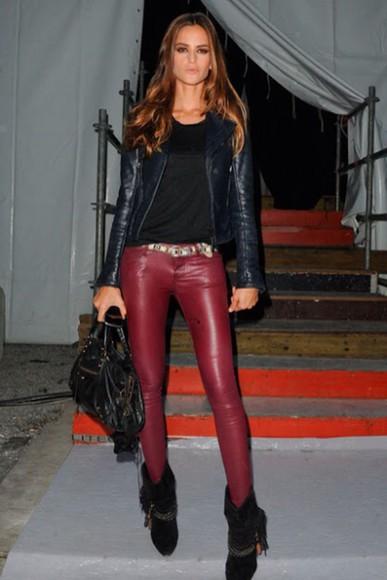 red leggings red leggings red pants, big bottom pant legs, dress look jacket