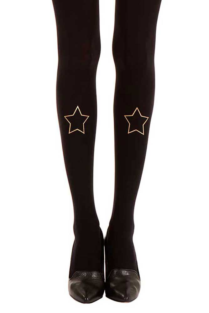 City star print tattoo tights black & gold