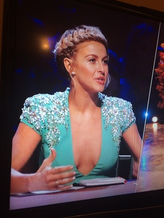 teal dress teal bling julianne hough dancing with the stars rhinestones