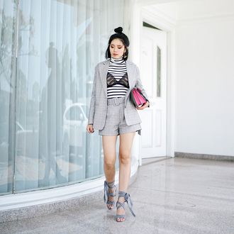olivia lazuardy blogger top jacket bag shorts shoes fall outfits grey jacket blazer striped top sandals high heel sandals grey shorts