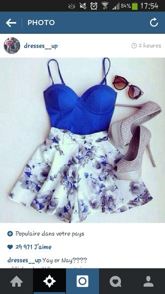 shorts blue flowers skorts white greay style dress