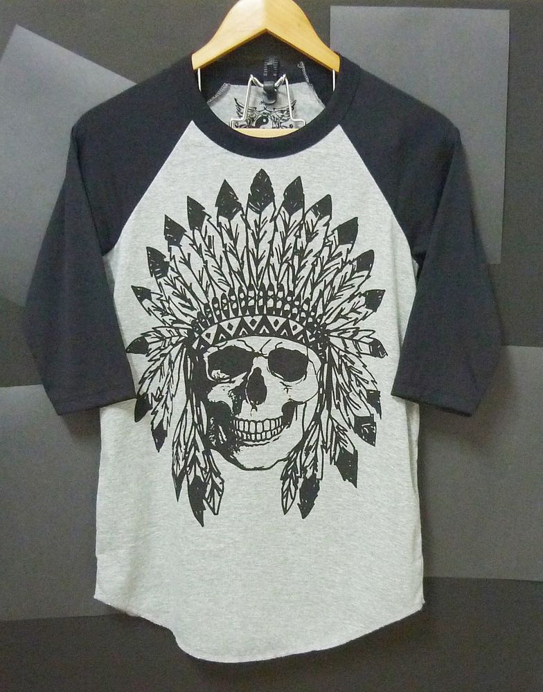 Indian skull raglan shirt s/m/l/xl native american base ball tshirt men women