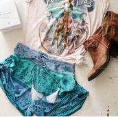 summer shorts,boho,bohi,turquoise,mint,hippie