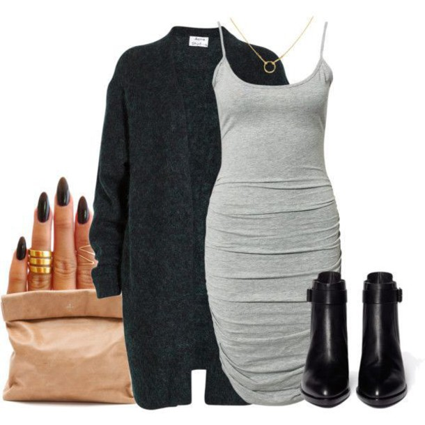 dress grey dress spaghetti strap jersey coat