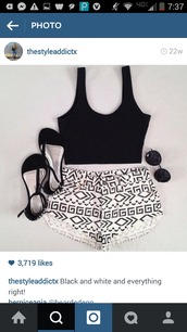 shorts,High waisted shorts,tribal pattern,crop tops,summer,beach,hot,cute