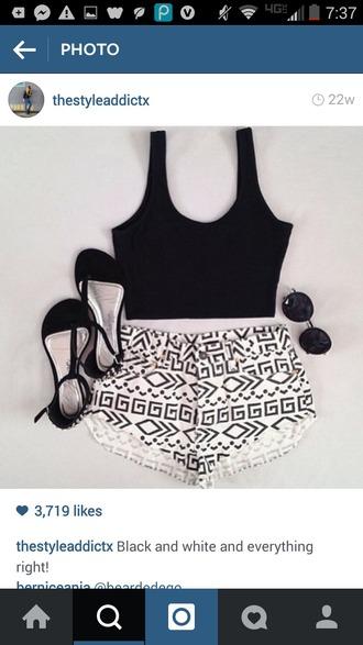 shorts high waisted shorts tribal tribal print tribal pattern crop tops summer beach hot cute