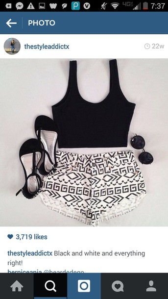 shorts High waisted shorts tribal pattern tribal pattern tribal pattern crop tops summer beach hot cute