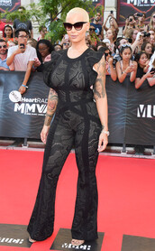 jumpsuit,all black everything,amber rose,red carpet,sandals,lace,black jumpsuit