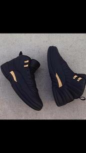 shoes,black and gold jordans,jordans,black,jordan retro 12,gold,sneakers,leather,price,brand,black and gold,black shoes,gold shoes,jordan,black jordans,nike shoes,addias shoes,pumas,retros