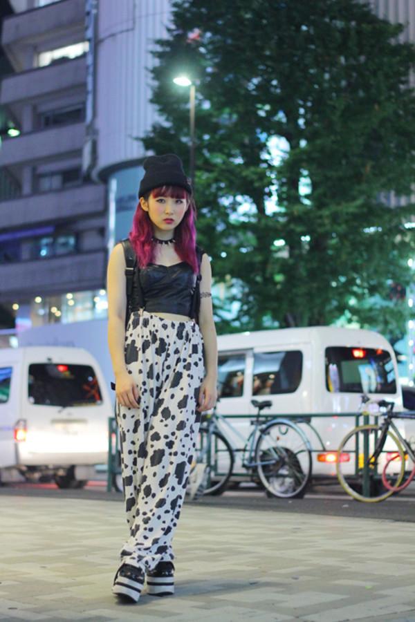 clothes cow print top pants hat hair dye choker necklace harajuku harajuku japanese streets japanese fashion