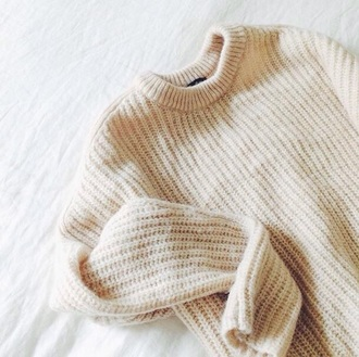 sweater jumper knitted sweater cream sweater cute sweaters