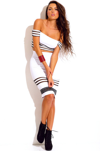 White stripe mesh high waisted 2 piece set dress