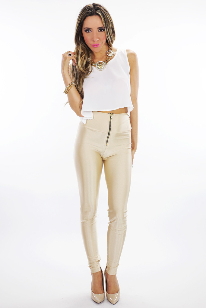 LORIN HIGH WAISTED LEGGINGS - Beige | Haute & Rebellious