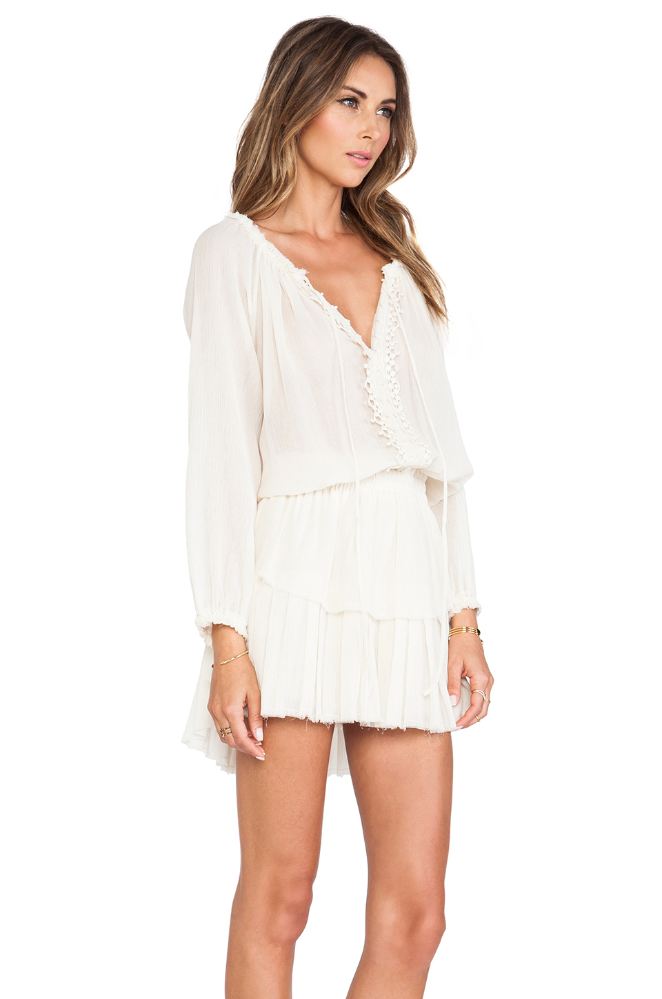 LoveShackFancy Popover Ruffle Mini Dress in Ivory from REVOLVEclothing.com