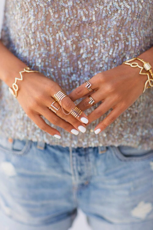 jewels denim shorts jewelry nails ring sweater fashion cool bracelets gold jewelry