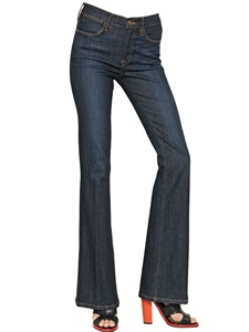 High waist flared stretch denim jeans