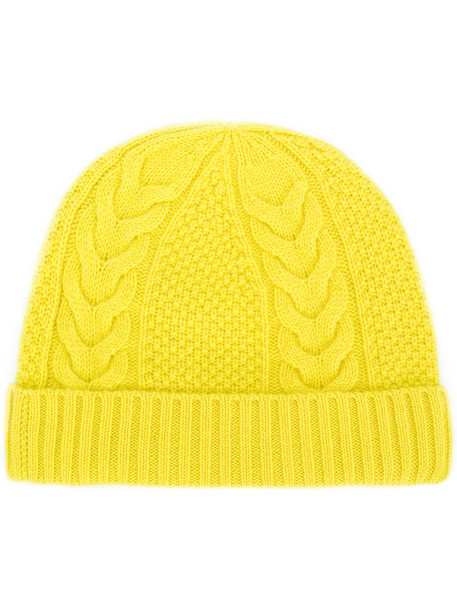 beanie knit yellow orange hat
