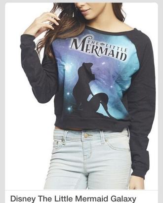 the little mermaid mermaid disney sweater disney crewneck sweater sweatshirt black blue long sleeves baggy shirt