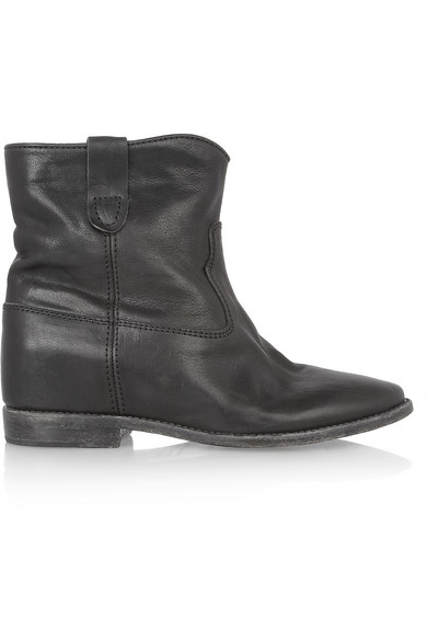 Isabel Marant|Cluster leather concealed wedge biker boots|NET-A-PORTER.COM