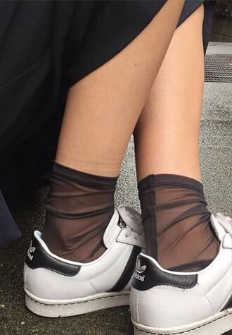 socks black transparent mesh