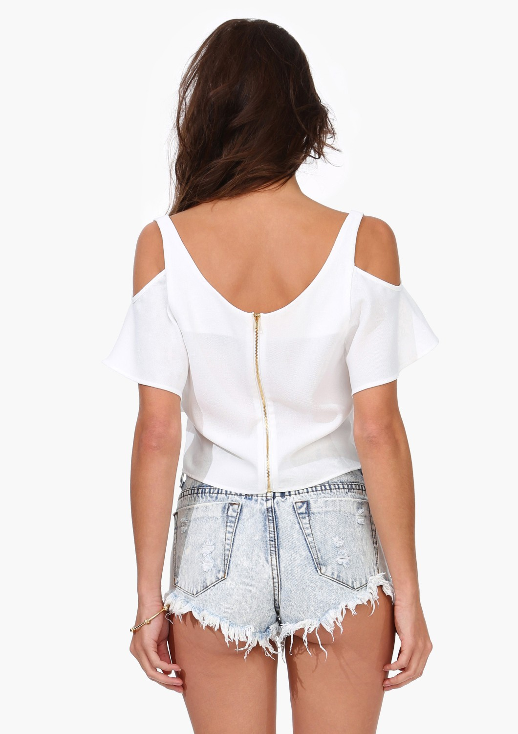 White Off the Shoulder Ruffle Crop Vest - Sheinside.com