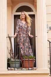 dress,blue vanilla,wrap dress,summer dress,midi dress,summer outfits,tropical,long sleeves,sheer,floral dress,floral maxi dress,floral,v neck dress