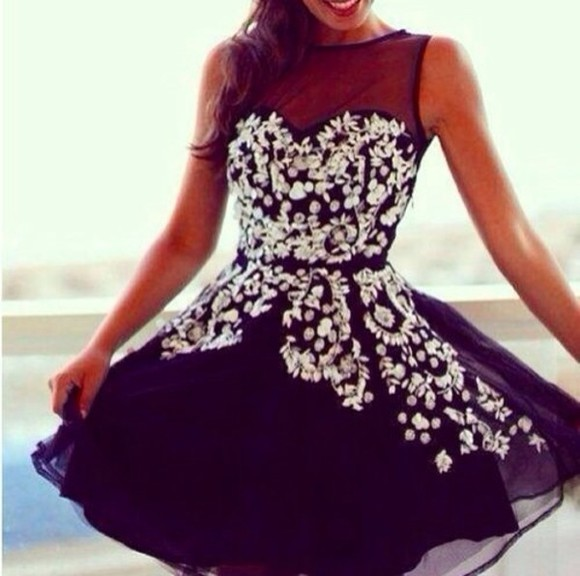 dress short floral flowers black white cute dress beauty white dress short prom dress prom dress
