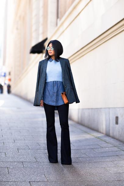 walk in wonderland blogger blazer denim shirt flare pants jacket shirt top jeans shoes bag
