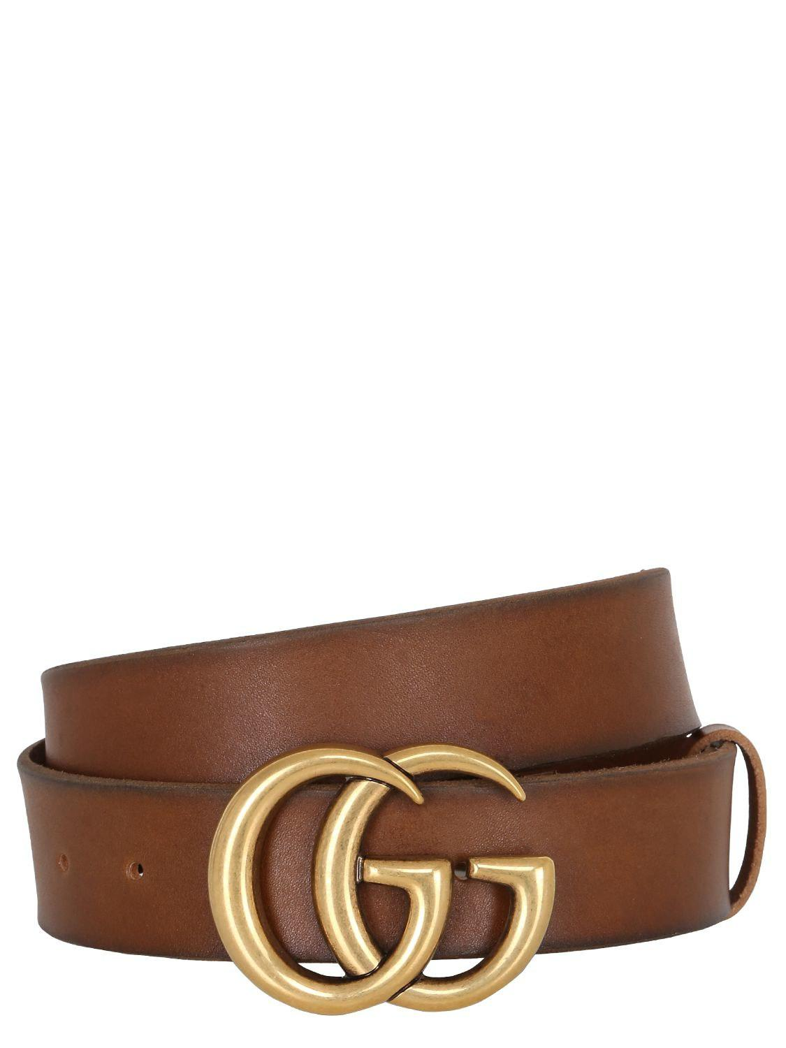 84092345b713 Gucci - Brown 40mm Gg Buckle Leather Belt - Lyst