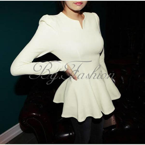 S xxxl korean women peplum frill puff sleeve fitted clubwear shirt blouse top
