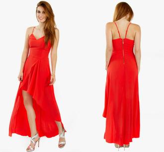 dress miley cyrus selena gomez red high low gown prom wedding spaghetti strap summer spring 2015 designer elegant chiffo chiffon chic fashion women juniors kim kardashian