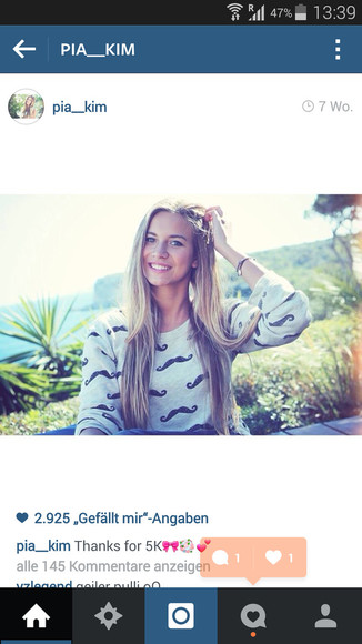 moustache moustache sweater grey beautyful pia__kim instagram blonde
