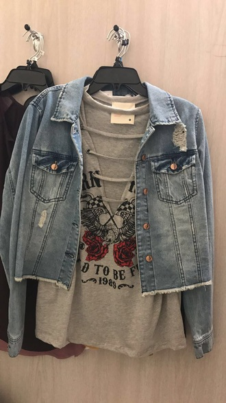 shirt roses flags grey lace up eagle denim jacket