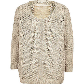 sweater knitted sweater beige sweater river island