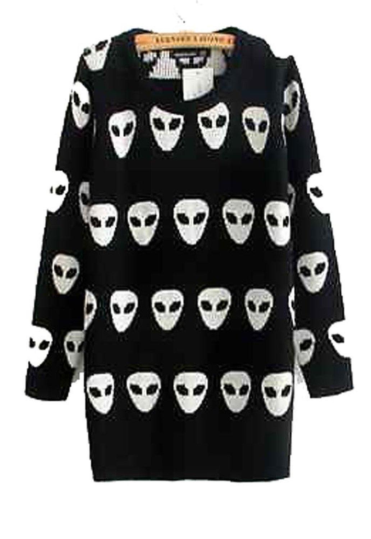 Winter Cute Alien Long Sleeved Sweater Black Size S At Amazon