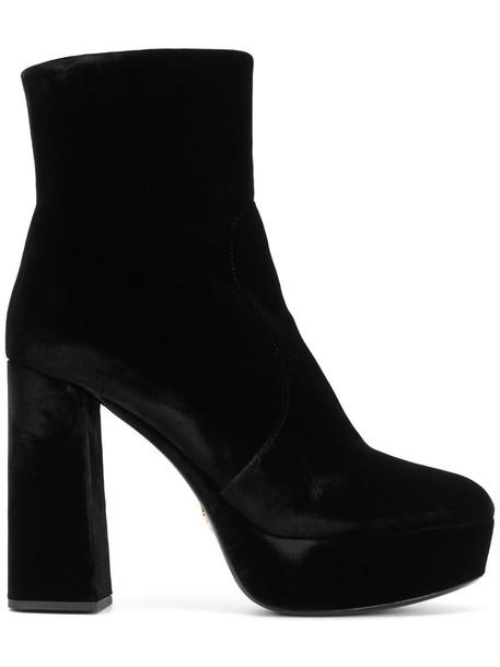 Prada women ankle boots leather black velvet shoes