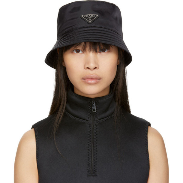 Prada Black Logo Bucket Hat