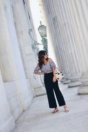 chictalk,blogger,top,pants,shoes,bag,flats,black pants,summer outfits