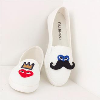 moustache shoes canvas shoes loafers heart