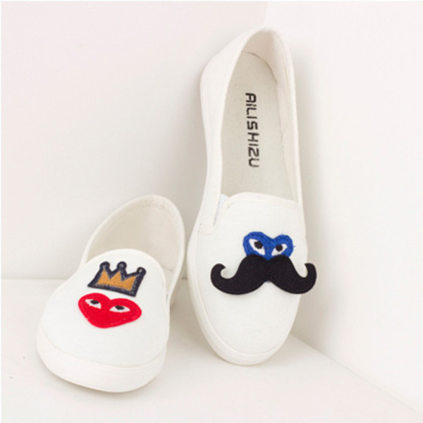 canvas shoes shoes loafers moustache heart